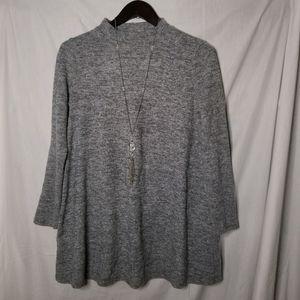 Grey Long Sleeve Mock Neck Sweater Tunic Dress